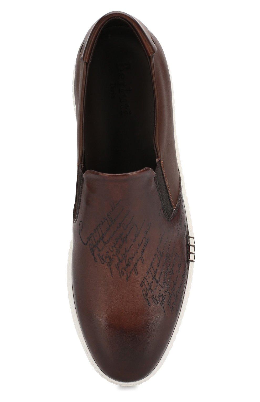 Мужские кожаные слипоны BERLUTI коричневого цвета, арт. S4071-001 | Фото 5