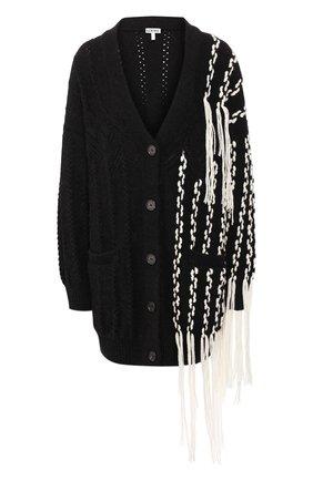 Женский шерстяной кардиган LOEWE черно-белого цвета, арт. D3298040SM   Фото 1