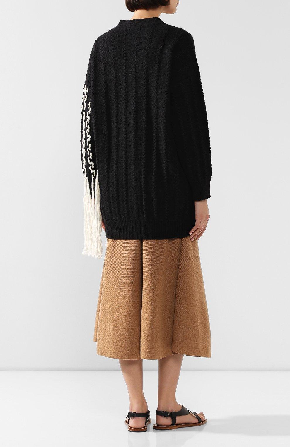 Женский шерстяной кардиган LOEWE черно-белого цвета, арт. D3298040SM   Фото 4