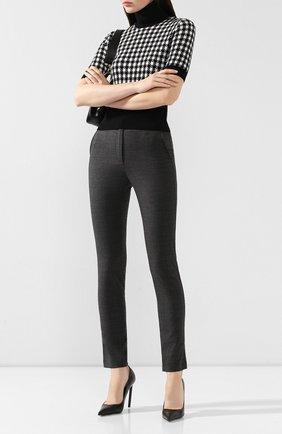 Женские брюки из смеси шерсти и хлопка DOLCE & GABBANA серого цвета, арт. FTBJVT/FUFJQ | Фото 2