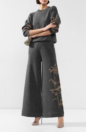 Женские шерстяные брюки DRIES VAN NOTEN серого цвета, арт. 192-11247-8726 | Фото 2