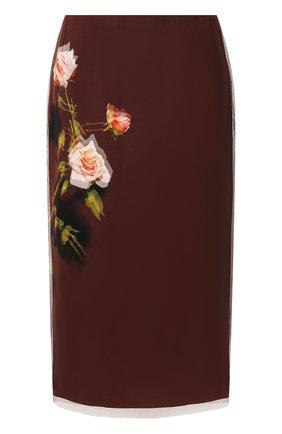 Женская шелковая юбка DRIES VAN NOTEN коричневого цвета, арт. 192-10801-8136 | Фото 1