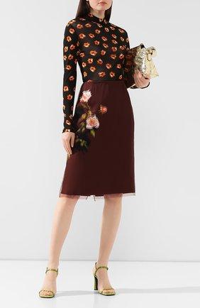 Женская шелковая юбка DRIES VAN NOTEN коричневого цвета, арт. 192-10801-8136 | Фото 2