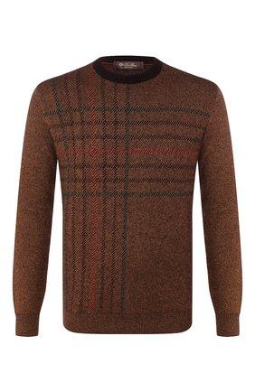 Мужской свитер из смеси кашемира и шелка LORO PIANA коричневого цвета, арт. FAI8199 | Фото 1