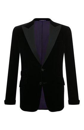 Мужской хлопковый пиджак RALPH LAUREN черного цвета, арт. 798777431 | Фото 1