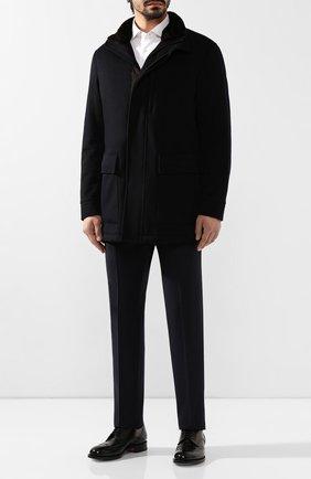 Мужской кашемировое пальто с меховой отделкой ERMENEGILDO ZEGNA темно-синего цвета, арт. UTT49/350KN | Фото 2