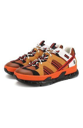 Мужские комбинированные кроссовки union BURBERRY оранжевого цвета, арт. 8017129 | Фото 1