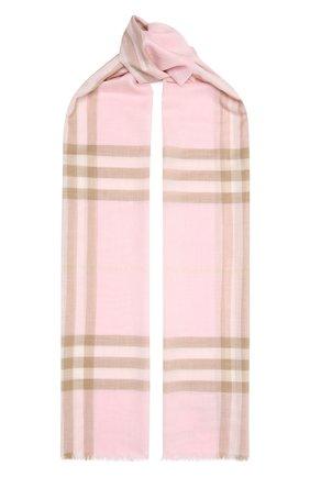 Мужские шарф из смеси шерсти и шелка BURBERRY розового цвета, арт. 8019462 | Фото 1