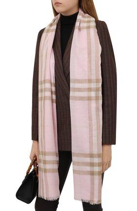 Мужские шарф из смеси шерсти и шелка BURBERRY розового цвета, арт. 8019462 | Фото 2