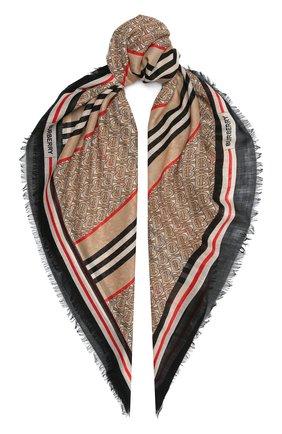 Женский платок из смеси шерсти и шелка BURBERRY бежевого цвета, арт. 8018037   Фото 1 (Материал: Текстиль, Шерсть, Шелк; Статус проверки: Проверена категория)