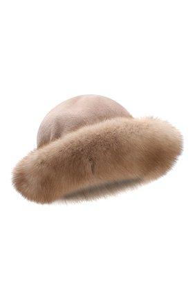 Женская шляпа из меха норки и соболя KUSSENKOVV бежевого цвета, арт. 151913694081 | Фото 1
