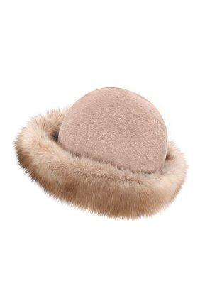Женская шляпа из меха норки и соболя KUSSENKOVV бежевого цвета, арт. 151913694081 | Фото 2
