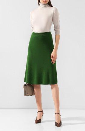 Женская кашемировая юбка LORO PIANA зеленого цвета, арт. FAI8517 | Фото 2