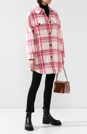 Женское пальто в клетку WOOLRICH розового цвета, арт. WWCPS2846/UT1732 | Фото 2