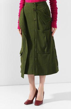Женская юбка JACQUEMUS зеленого цвета, арт. 193SK03/26580 | Фото 3