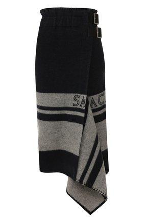 Женская шерстяная юбка SACAI синего цвета, арт. 19-04685 | Фото 1
