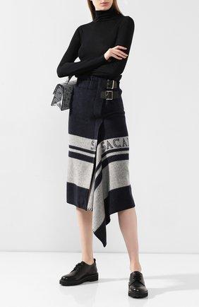 Женская шерстяная юбка SACAI синего цвета, арт. 19-04685 | Фото 2