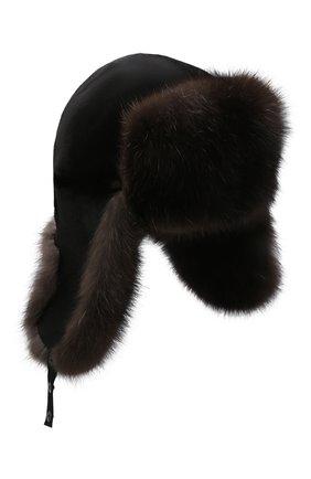 Мужская шапка-ушанка из меха соболя KUSSENKOVV темно-коричневого цвета, арт. 331513504158 | Фото 1