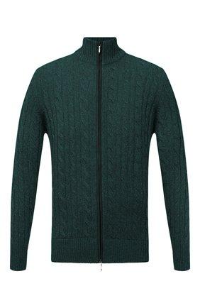 Мужской кашемировый кардиган LORO PIANA темно-зеленого цвета, арт. FAI8133 | Фото 1 (Материал внешний: Шерсть, Кашемир; Рукава: Длинные; Длина (для топов): Стандартные; Стили: Кэжуэл; Мужское Кросс-КТ: Кардиган-одежда)