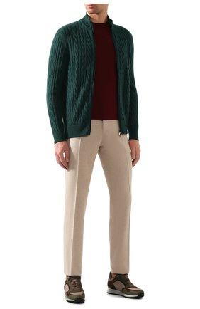 Мужской кашемировый кардиган LORO PIANA темно-зеленого цвета, арт. FAI8133 | Фото 2 (Материал внешний: Шерсть, Кашемир; Рукава: Длинные; Длина (для топов): Стандартные; Стили: Кэжуэл; Мужское Кросс-КТ: Кардиган-одежда)