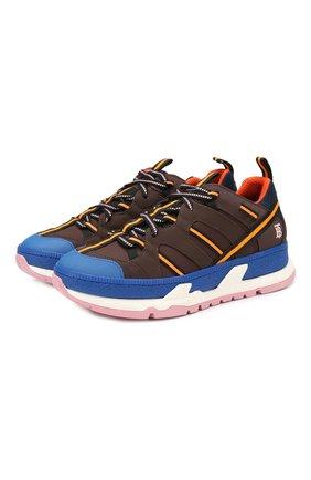 Мужские комбинированные кроссовки union BURBERRY коричневого цвета, арт. 8015680 | Фото 1