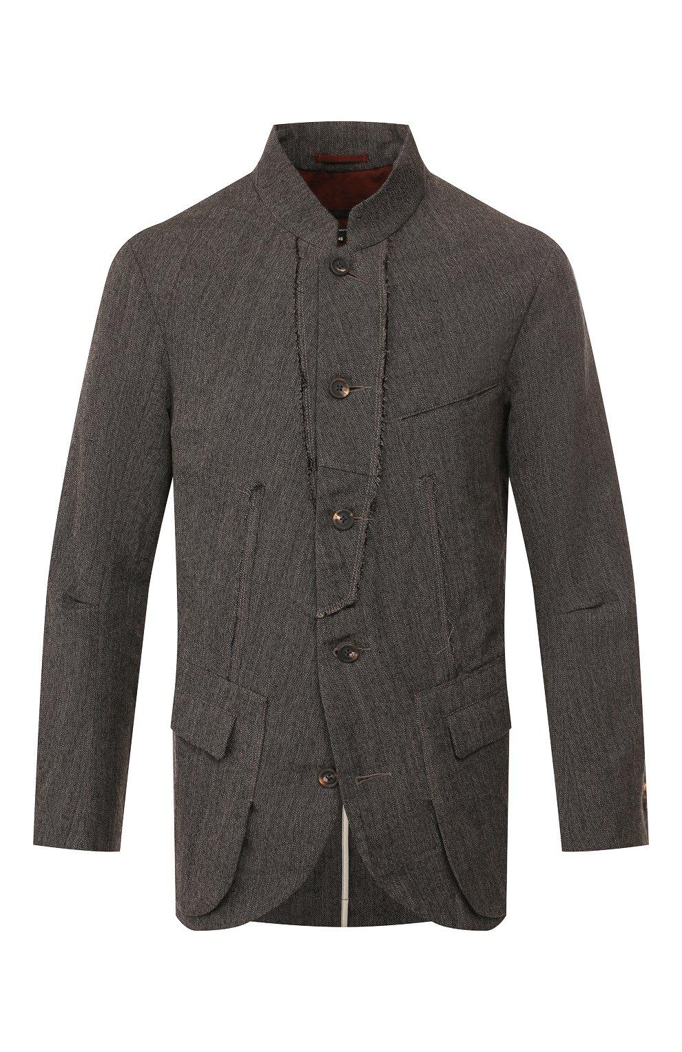 Мужской пиджак из смеси шерсти и льна ZIGGY CHEN серого цвета, арт. 0M1930908 | Фото 1