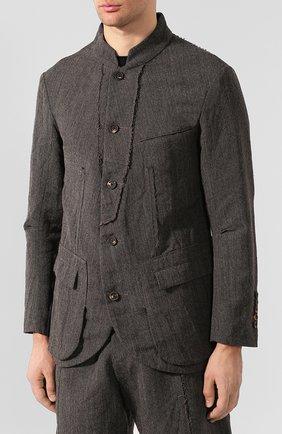 Мужской пиджак из смеси шерсти и льна ZIGGY CHEN серого цвета, арт. 0M1930908 | Фото 3