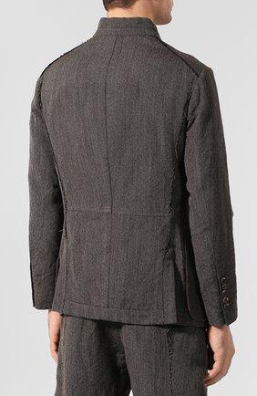Мужской пиджак из смеси шерсти и льна ZIGGY CHEN серого цвета, арт. 0M1930908 | Фото 4