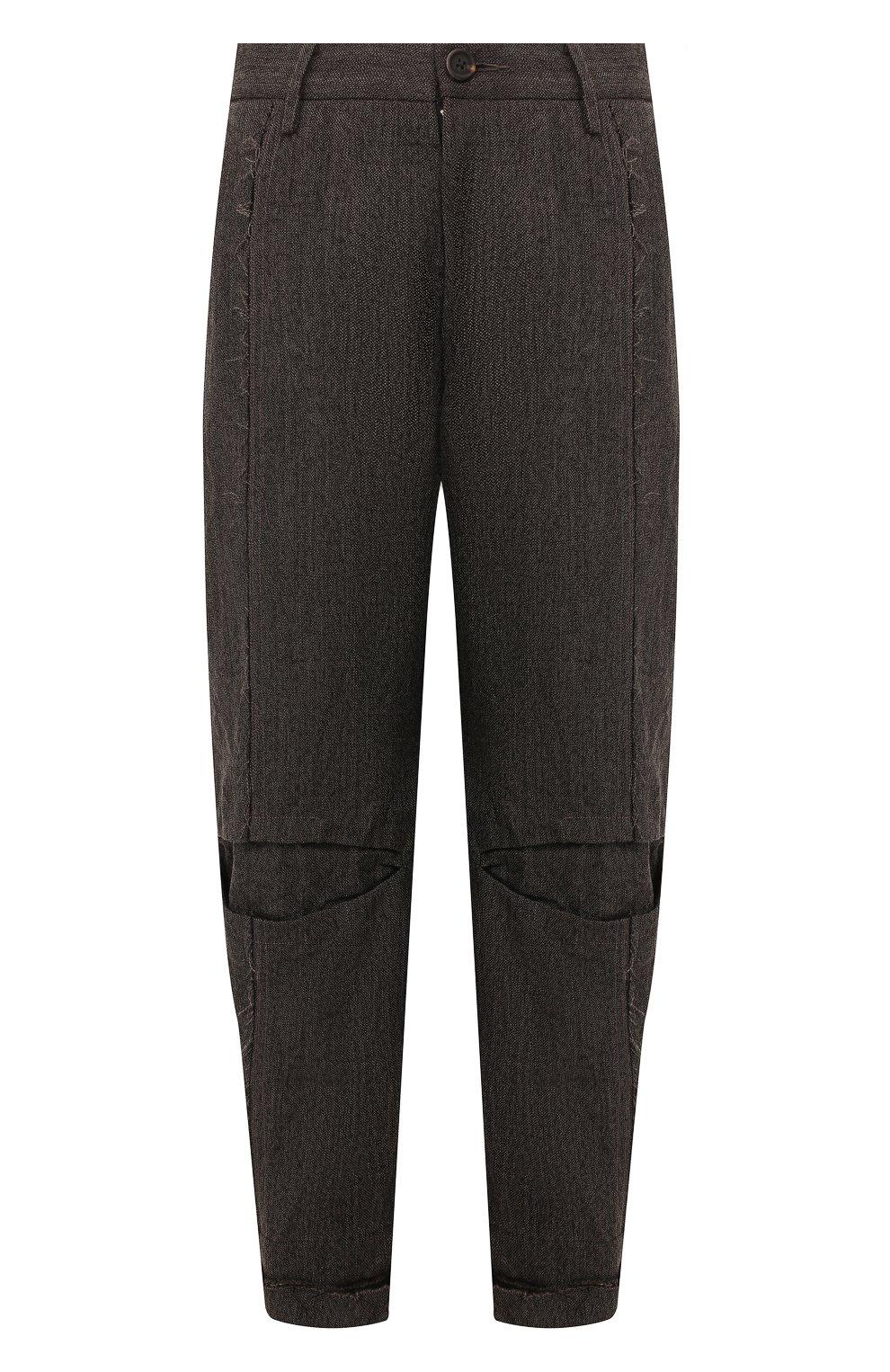Мужские брюки из смеси льна и шерсти ZIGGY CHEN серого цвета, арт. 0M1930504 | Фото 1