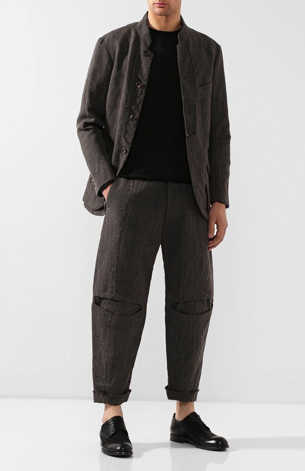 Мужские брюки из смеси льна и шерсти ZIGGY CHEN серого цвета, арт. 0M1930504 | Фото 2