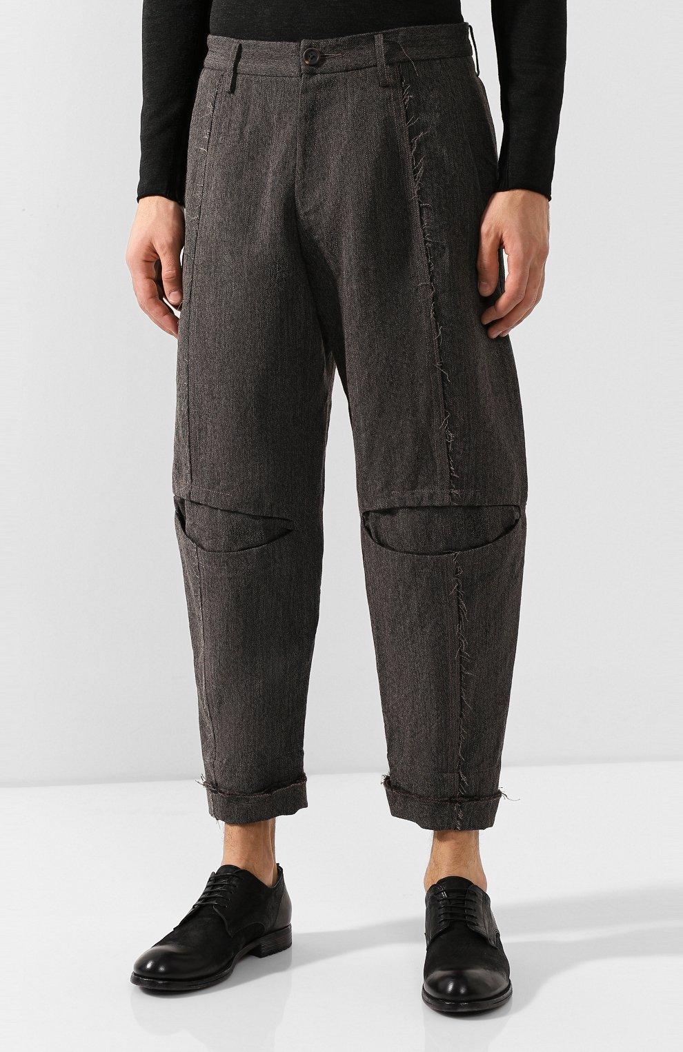 Мужские брюки из смеси льна и шерсти ZIGGY CHEN серого цвета, арт. 0M1930504 | Фото 3