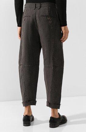 Мужские брюки из смеси льна и шерсти ZIGGY CHEN серого цвета, арт. 0M1930504 | Фото 4