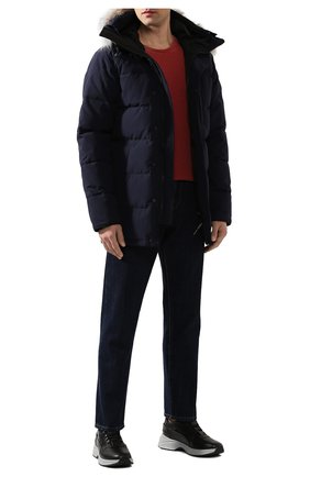 Мужская пуховик с меховой отделкой carson CANADA GOOSE синего цвета, арт. 3805M   Фото 2 (Статус проверки: Проверена категория; Длина (верхняя одежда): До середины бедра; Материал утеплителя: Пух и перо; Материал внешний: Синтетический материал; Мужское Кросс-КТ: Пуховик-верхняя одежда, Верхняя одежда, пуховик-короткий; Рукава: Длинные; Кросс-КТ: Куртка; Материал подклада: Синтетический материал)