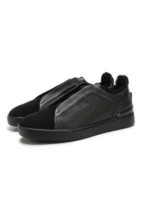 Мужские кожаные кеды ZEGNA COUTURE черного цвета, арт. A4362X-LHABL | Фото 1