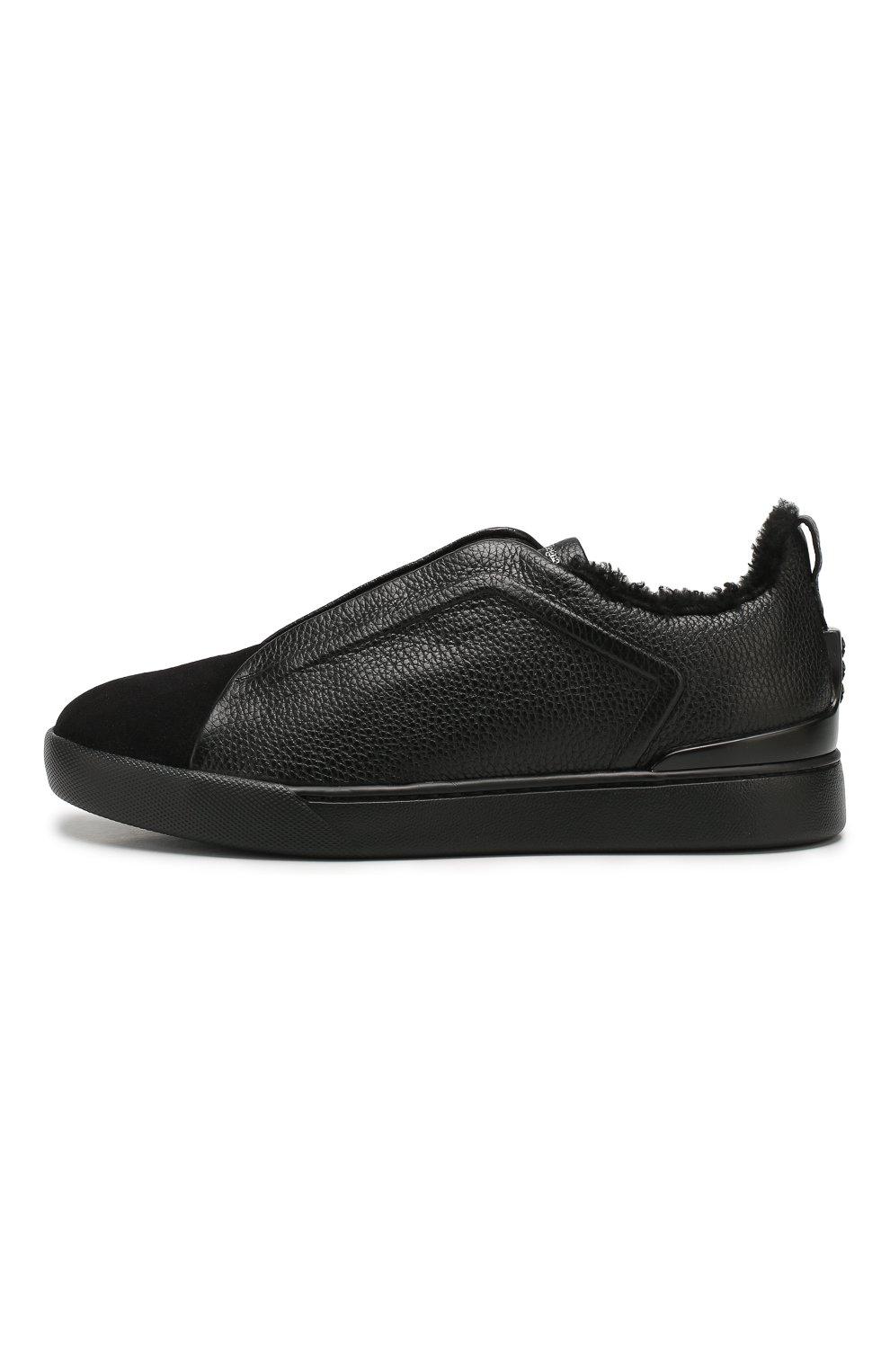 Мужские кожаные кеды ZEGNA COUTURE черного цвета, арт. A4362X-LHABL | Фото 3