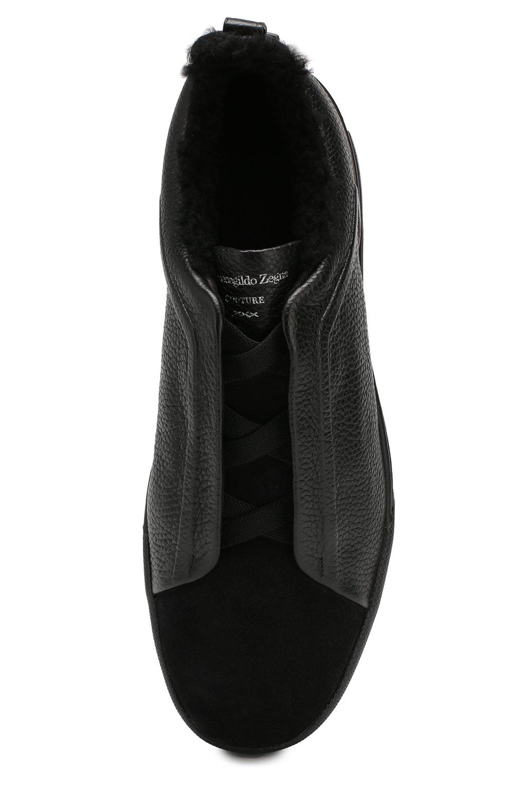 Мужские кожаные кеды ZEGNA COUTURE черного цвета, арт. A4362X-LHABL | Фото 5