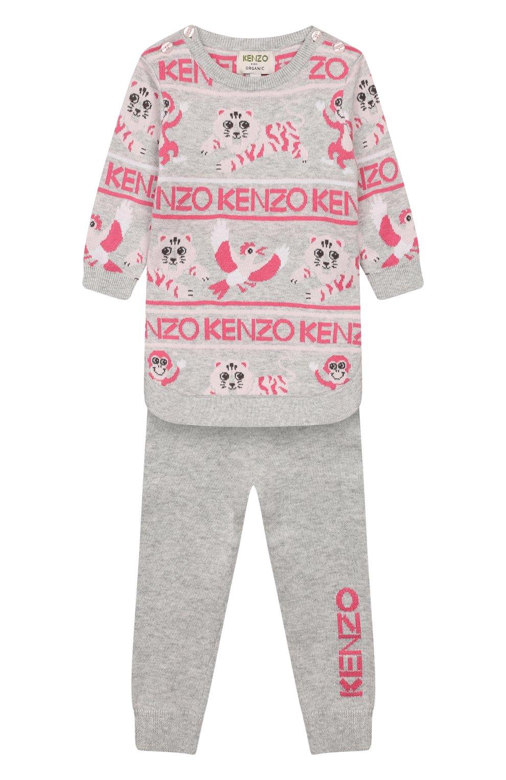 Детского комплект из пуловера и брюк KENZO серого цвета, арт. KP36013   Фото 1