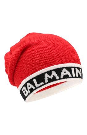 Детского шерстяная шапка BALMAIN красного цвета, арт. 6L0577/LC950 | Фото 1