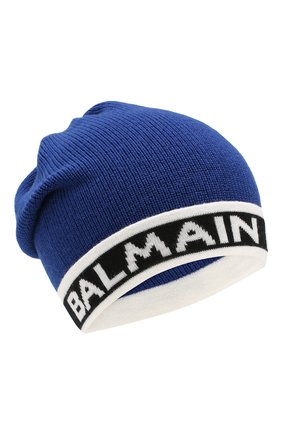 Детского шерстяная шапка BALMAIN синего цвета, арт. 6L0577/LC950 | Фото 1