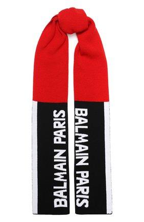 Детский шерстяной шарф BALMAIN красного цвета, арт. 6L0583/LC950 | Фото 1