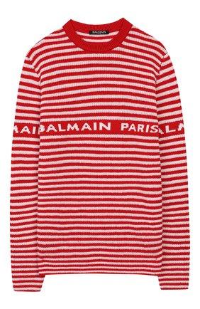 Детский шерстяной пуловер BALMAIN красного цвета, арт. 6L9520/LA910/4-10 | Фото 1