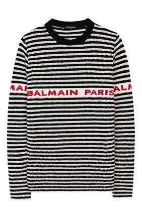 Детский шерстяной пуловер BALMAIN черного цвета, арт. 6L9520/LA910/4-10 | Фото 1