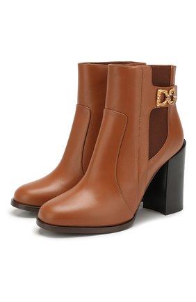 Женские кожаные ботильоны janis DOLCE & GABBANA светло-коричневого цвета, арт. CT0587/A3444 | Фото 1