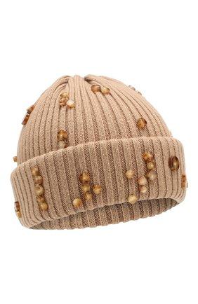 Мужская шерстяная шапка BURBERRY бежевого цвета, арт. 8021585 | Фото 1