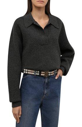Женский ремень BURBERRY светло-серого цвета, арт. 8018990 | Фото 2 (Статус проверки: Проверено, Проверена категория; Материал: Пластик)