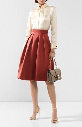 Женская шелковая блузка GIORGIO ARMANI бежевого цвета, арт. 9WHCCZ92/TZ455   Фото 2