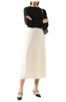 Женская кашемировая юбка LORO PIANA белого цвета, арт. FAI8078   Фото 2