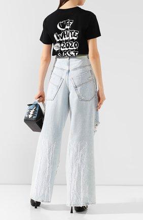 Женские джинсы свободного кроя OFF-WHITE голубого цвета, арт. 0WYA011F197730647101 | Фото 2