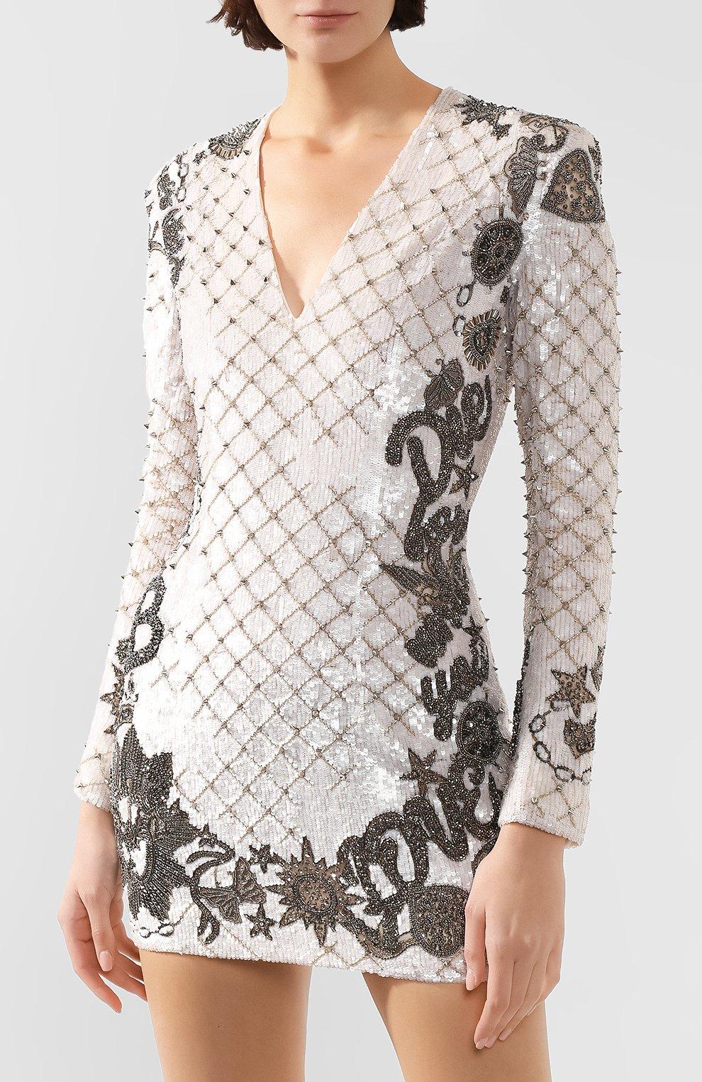 Женское платье BALMAIN белого цвета, арт. SF06852/P025   Фото 3