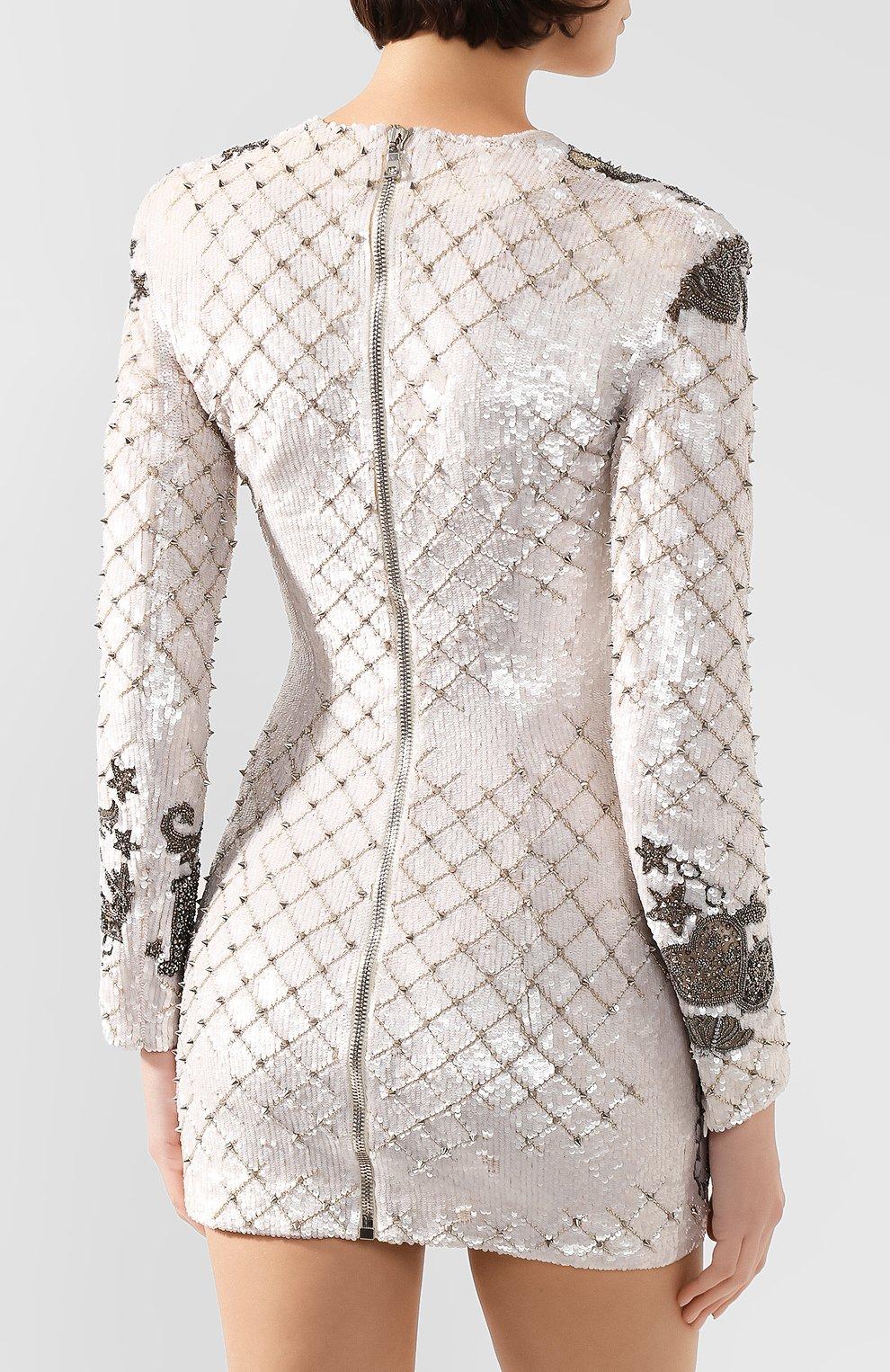 Женское платье BALMAIN белого цвета, арт. SF06852/P025   Фото 4